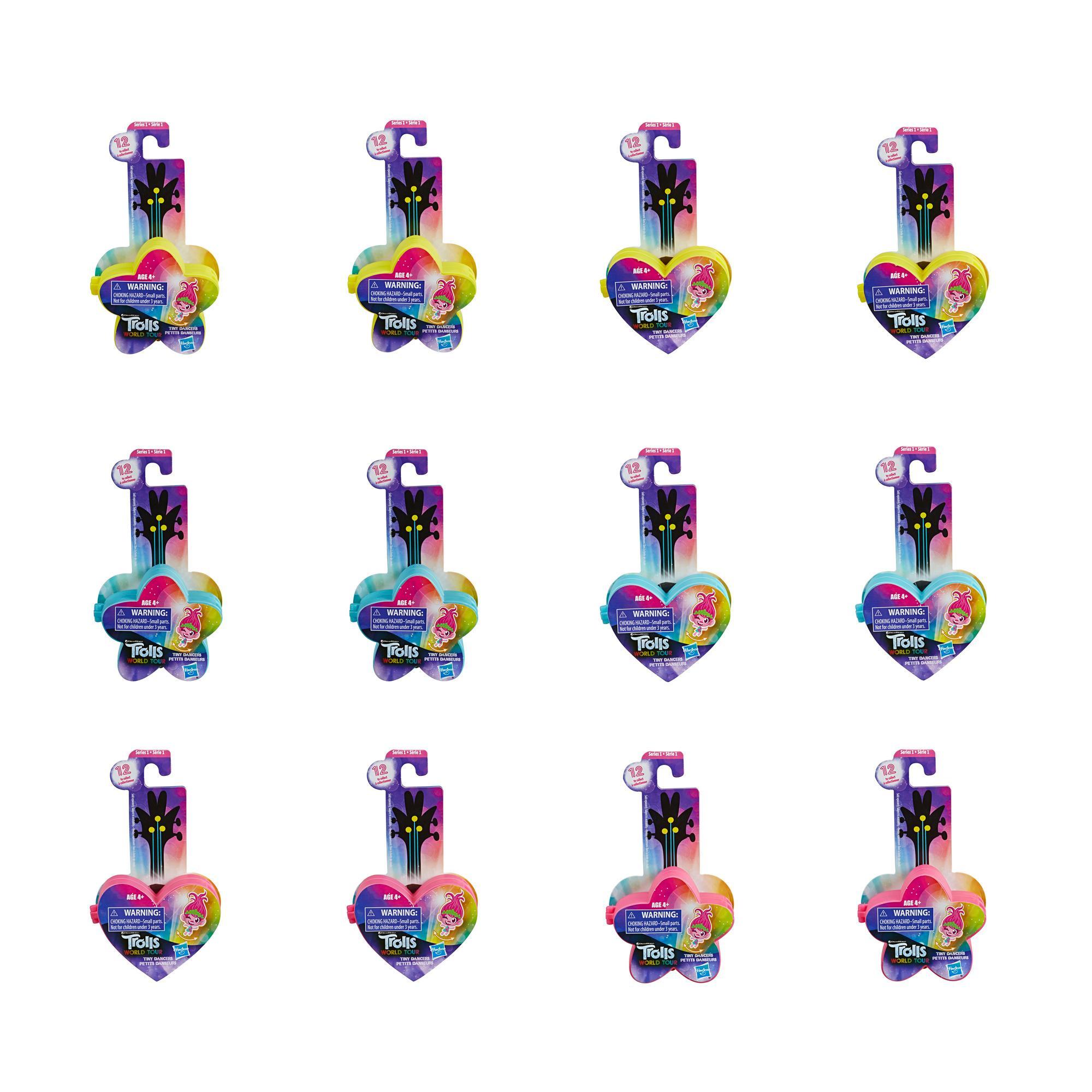 DreamWorks Trolls Wereldtour Tiny Dancers reeks 1 draagbare speelgoedfiguurtjes om te verzamelen, met ring of speldje