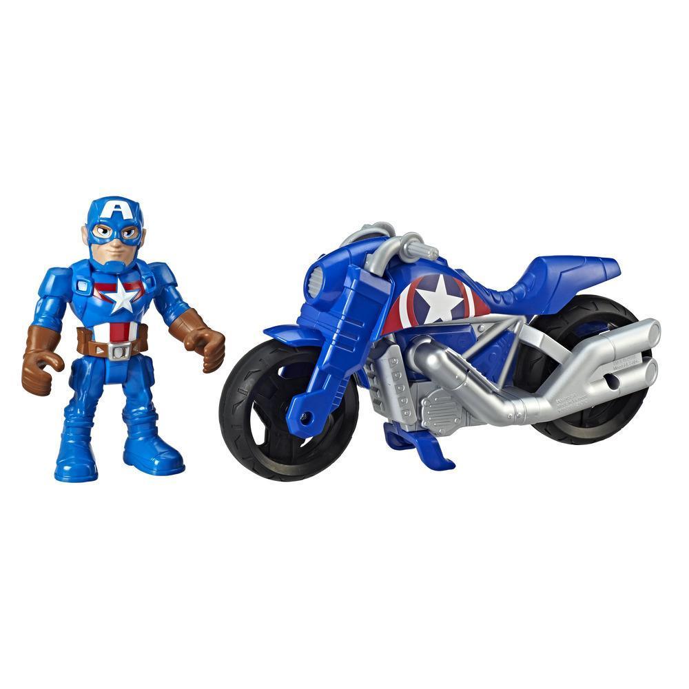 Playskool Heroes Marvel-superheldavonturen Captain America Victory Racer, figuur-en-motorset van 12,5 cm, speelgoed om te verzamelen voor kinderen vanaf 3 jaar