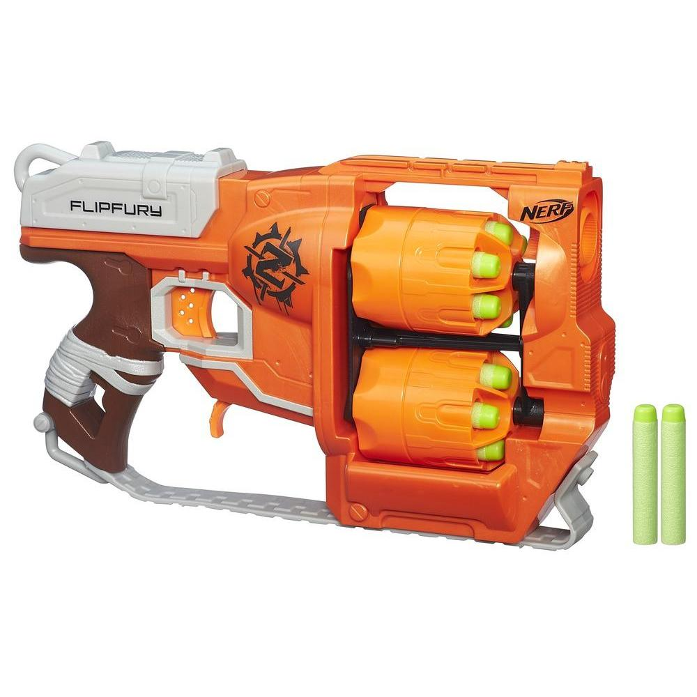 FlipFury Nerf Zombie Strike Toy Blaster with 2 Flipping Drums and 12 Official Nerf Zombie Strike Elite Darts – For Kids, Teens, Adults
