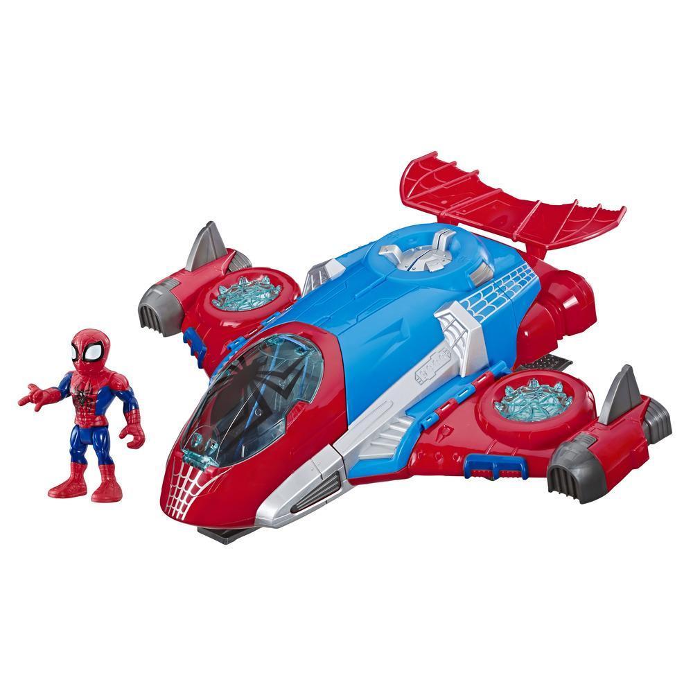 Playskool Heroes Marvel Super Hero Adventures Spider-Man Jetquarters, 12,5cm høy actionfigur og kjøretøyssett, lekejetfly, samleleker for barn fra 3 år
