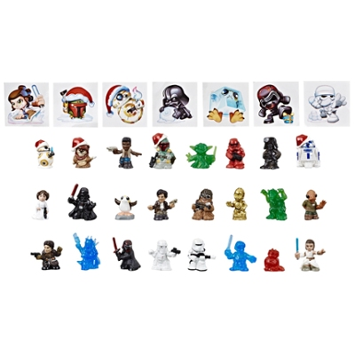 Star Wars Micro Force Advent Calendar Holiday Display, 24 Collectible Surprise Mini Figures and 7 Exclusive Stickers