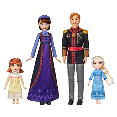 Disney Frozen 2 Arendelle Royal Family Fashion Doll Set with Toddler Anna and Elsa Dolls, King Agnarr and Queen Iduna