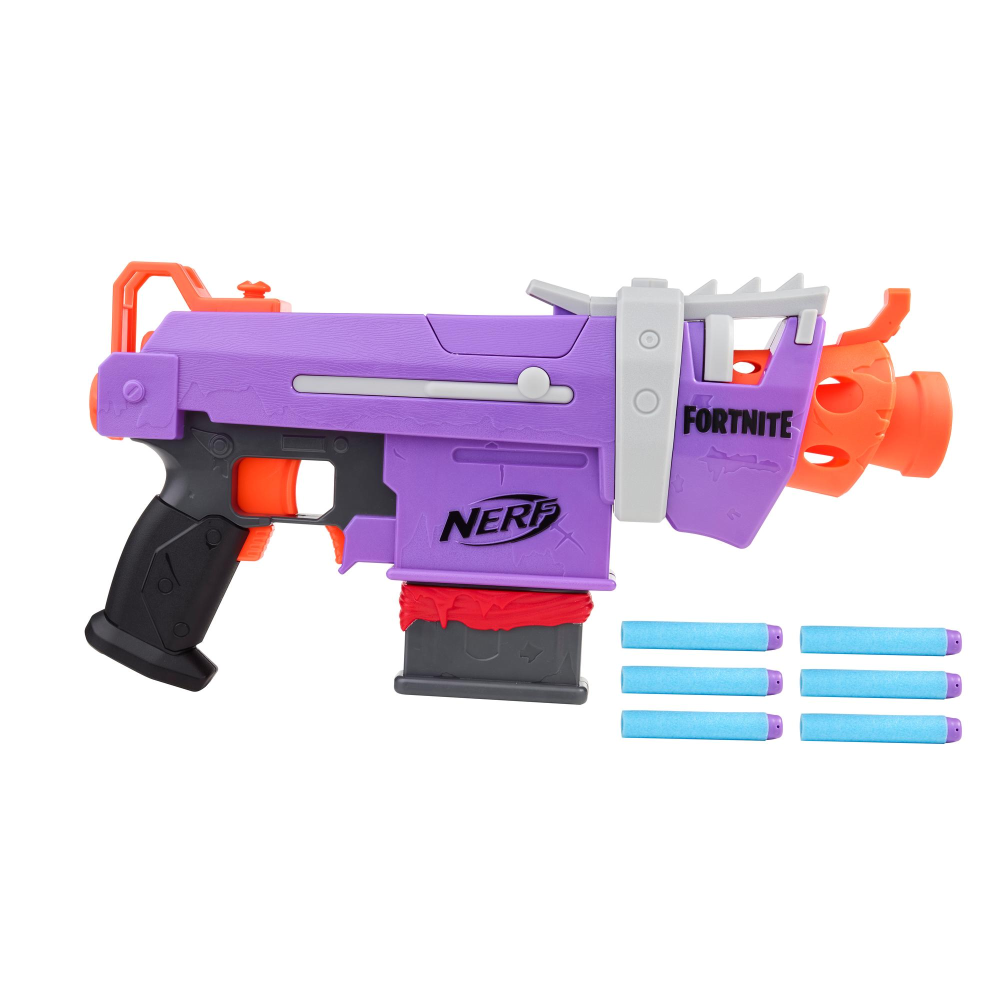 Nerf Fortnite SMG-E Motorized Dart Blaster -- 6-Dart Clip, 6 Official Nerf Elite Darts -- For Youth, Teens, Adults