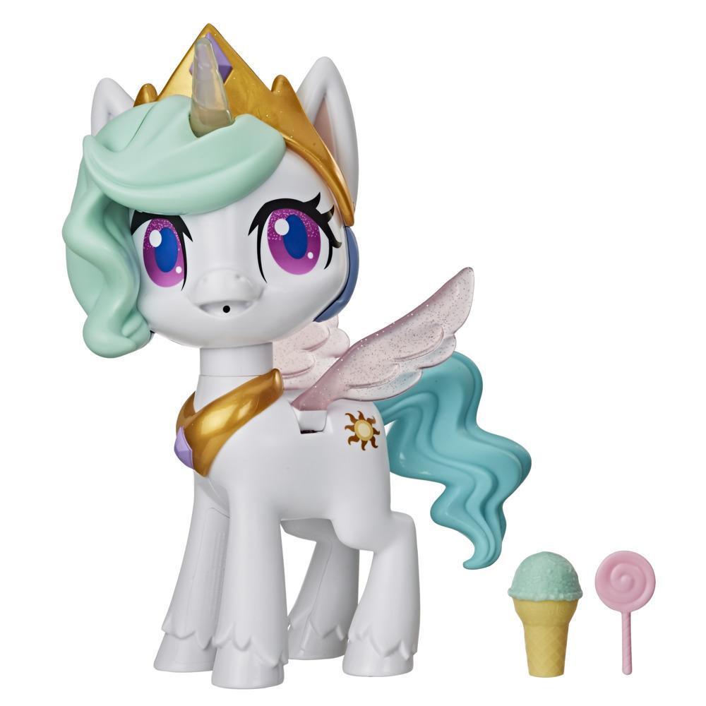 My Little Pony Magical Kiss Unicorn Princess Celestia, interaktiv barneleke med 3 overraskelsestilbehør, lys og bevegelser