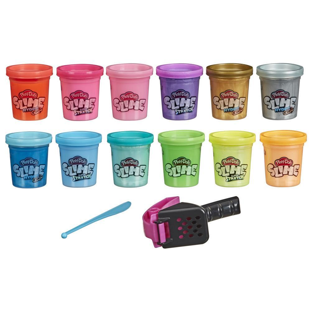Play-Doh Slime: Super Stretch, og HydroGlitz-pakke med 12 forskjellige farger for barn på 3 år og oppover, 51-grams bokser, giftfri
