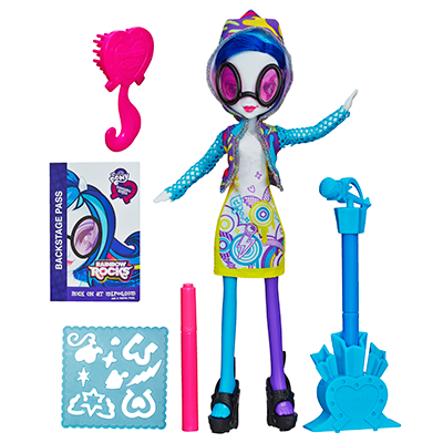 My Little Pony Equestria Girls Stamp Pad-gitar og Stamper Shoes DJ PON-3-dukke