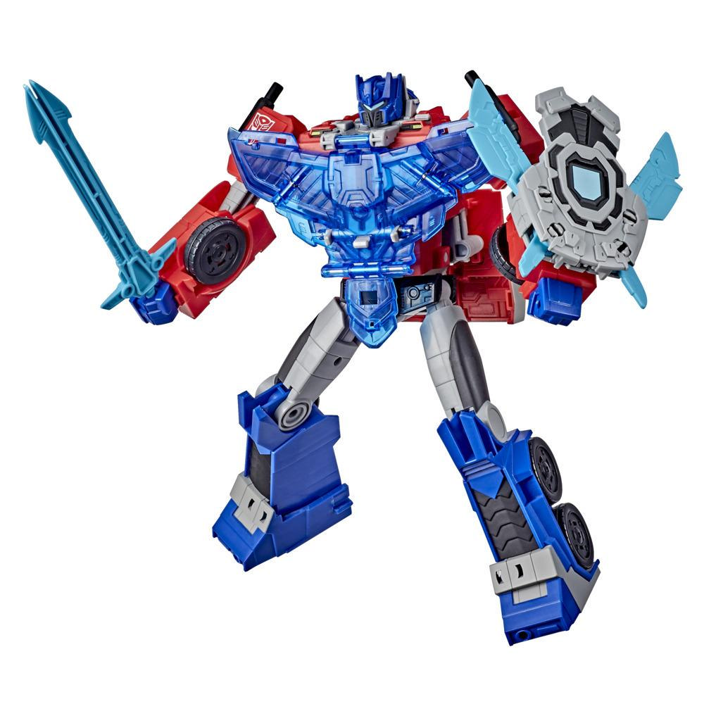 Figurka Optimus Prime klasy Officer, Transformers Bumblebee Cyberverse Adventures Battle Call, aktywowane głosem efekty świetlne i dźwiękowe