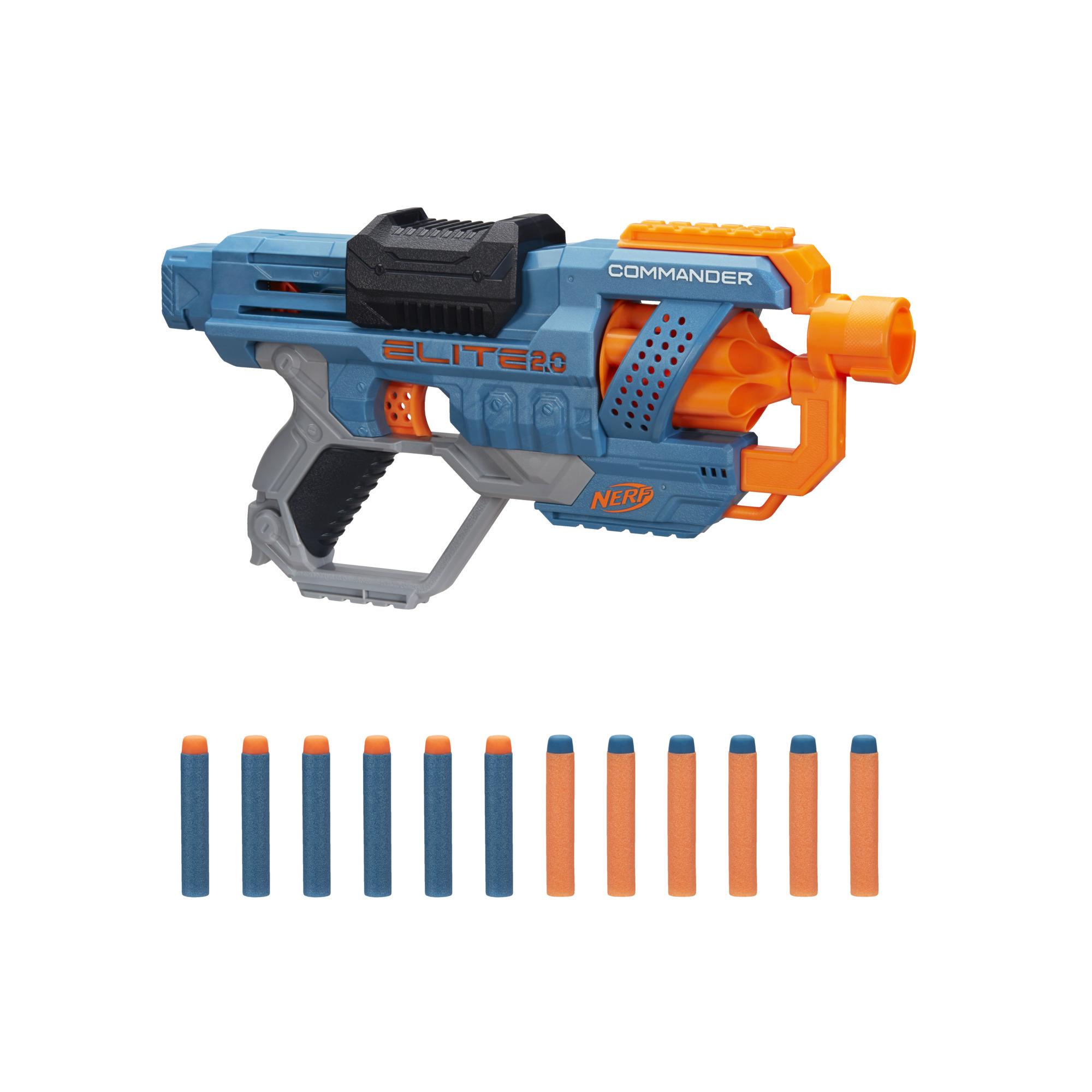 Wyrzutnia Nerf Elite 2.0 Commander RD-6, 12 oryginalnych strzałek Nerf, 6-strzałkowy magazynek obrotowy, możliwość dostosowania