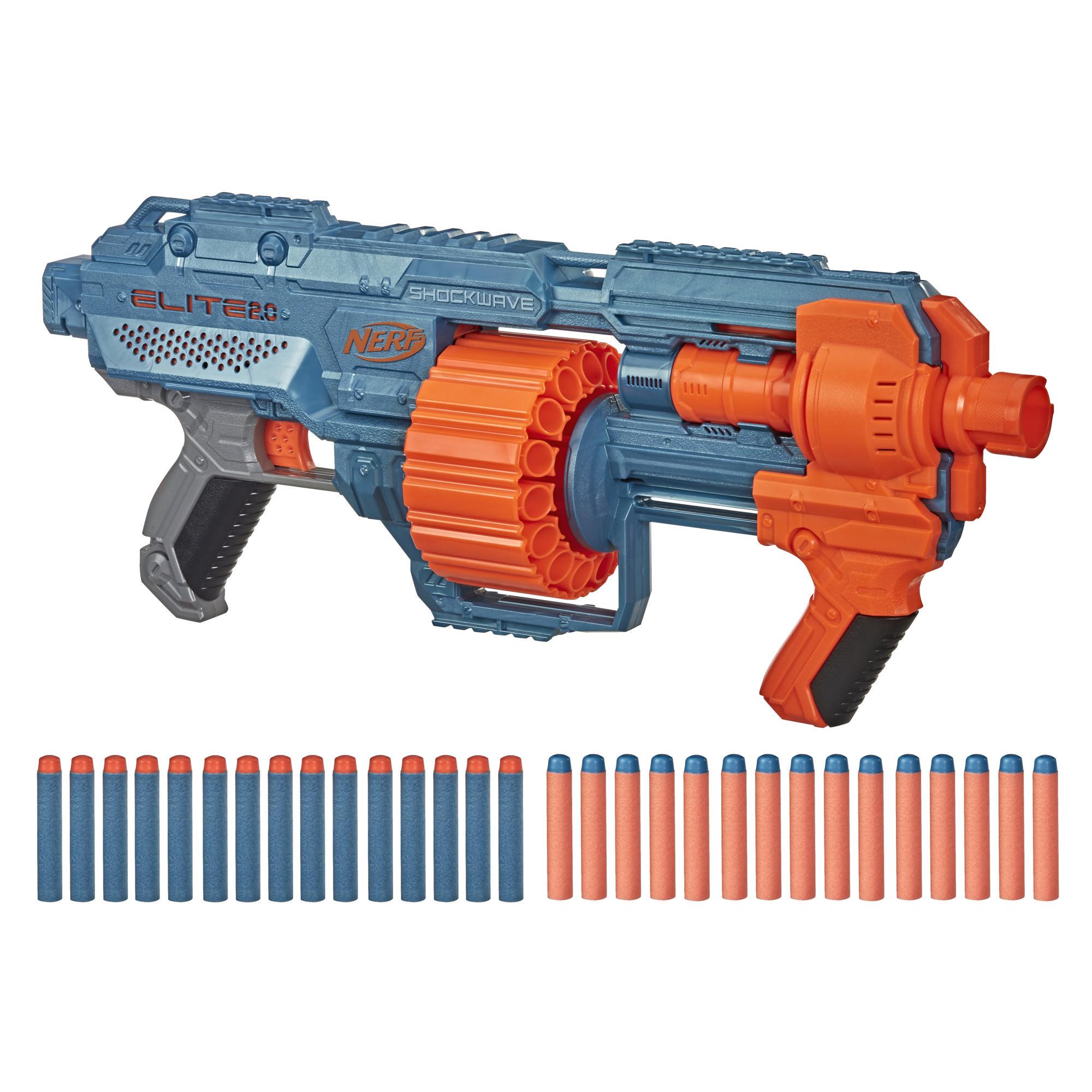 Wyrzutnia Nerf Elite 2.0 Shockwave RD-15, 30 strzałek Nerf, 15-strzałkowy magazynek obrotowy, ogień ciągły, możliwość dostosowania