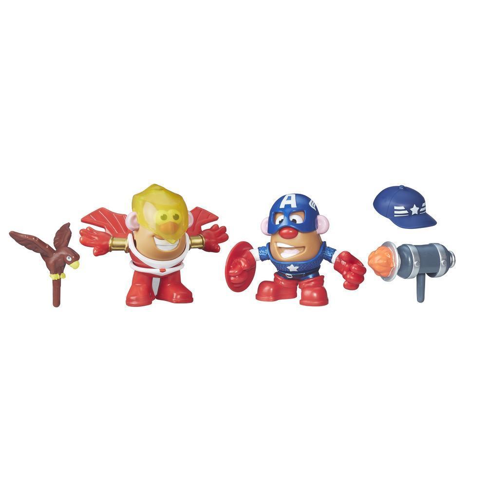 Sr. Cabeça de Batata da Playskool Friends e Capitão América e Falcão da Marvel
