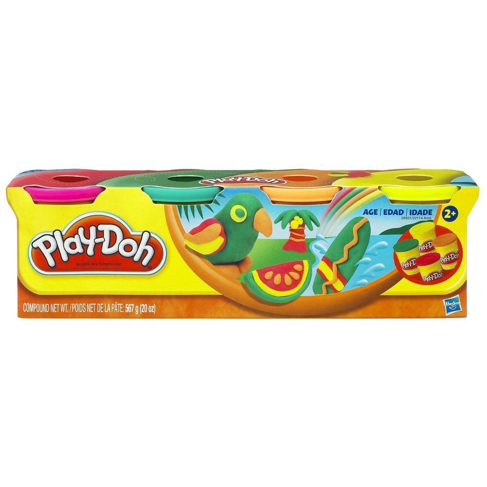 Play-Doh 4 Potes de Massinha (Cores Tropicais)