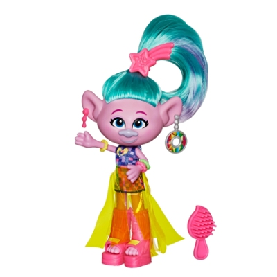 DreamWorks Trolls Cetim Glamour com vestido, sapato e outros acessórios, com inspiração no filme Trolls World Tour, brinquedo para crianças