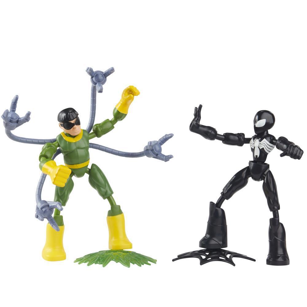 Marvel Spider-Man Bend and Flex Black Suit Spider-Man Vs. Doc Ock Figuras flexíveis de 15 cm. Brinquedo para crianças