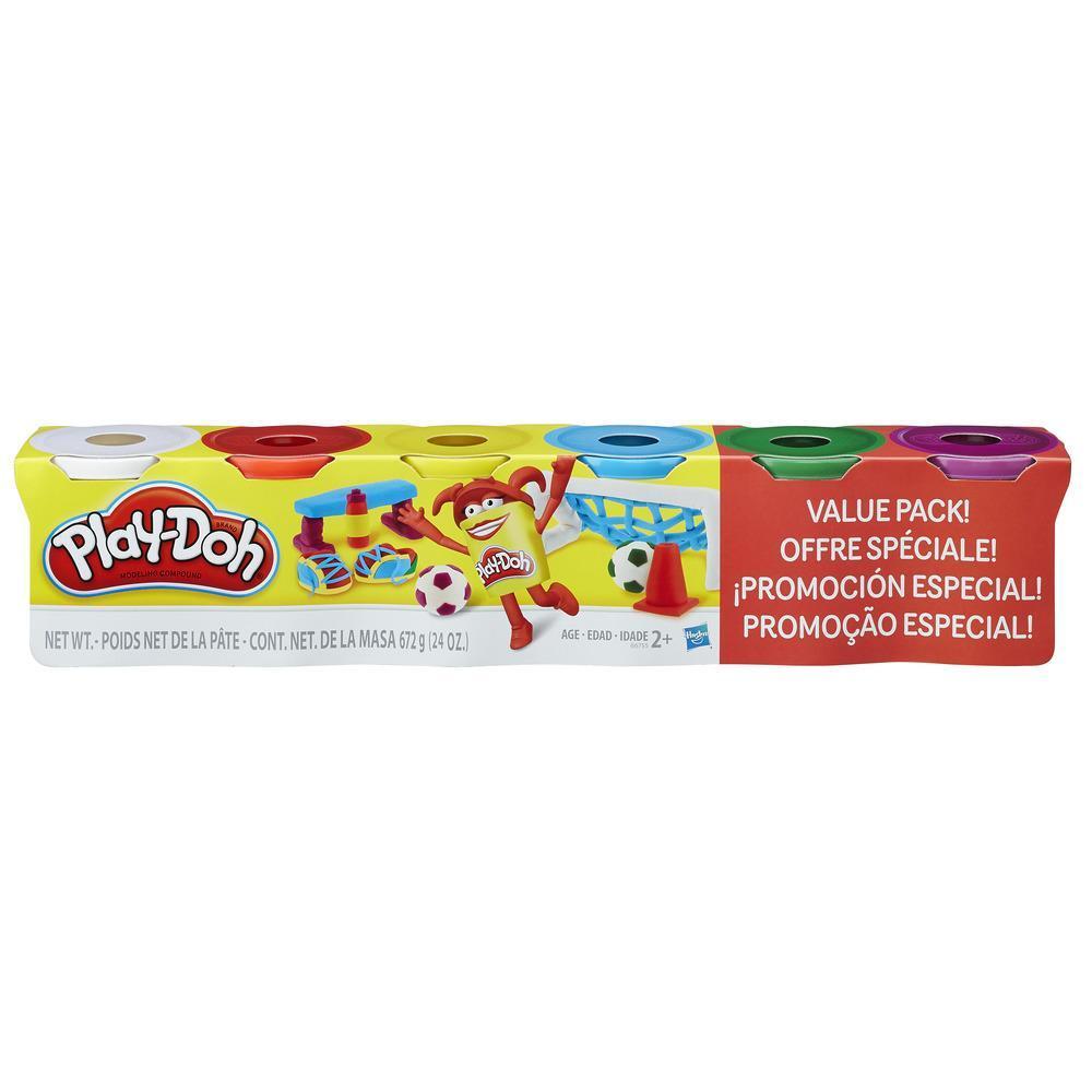 Kit Play-Doh com 4 cores primárias e 2 potes extras