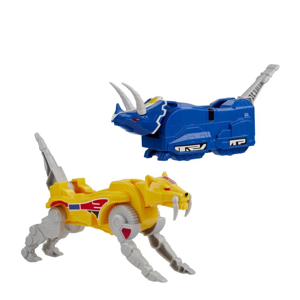 Power Rangers Mighty Morphin Sabertooth Tiger e Triceratops Dinozords para montar o Dino Megazord Brinquedo 2 Figuras