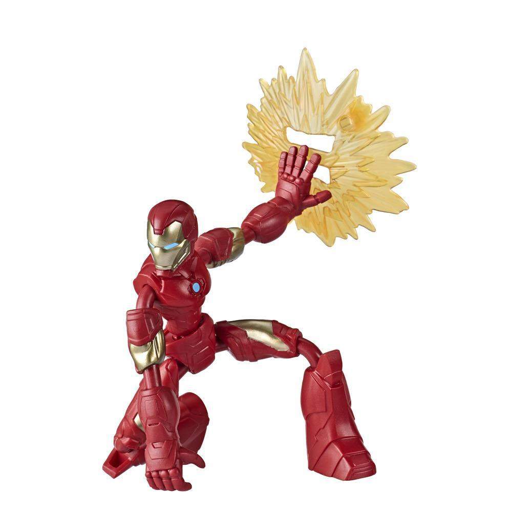 Marvel Vingadores Bend and Flex Figura Brinquedo, 15 cm figura Homem de Ferro flexível, inclui acessório, para crianças acima de 6 anos
