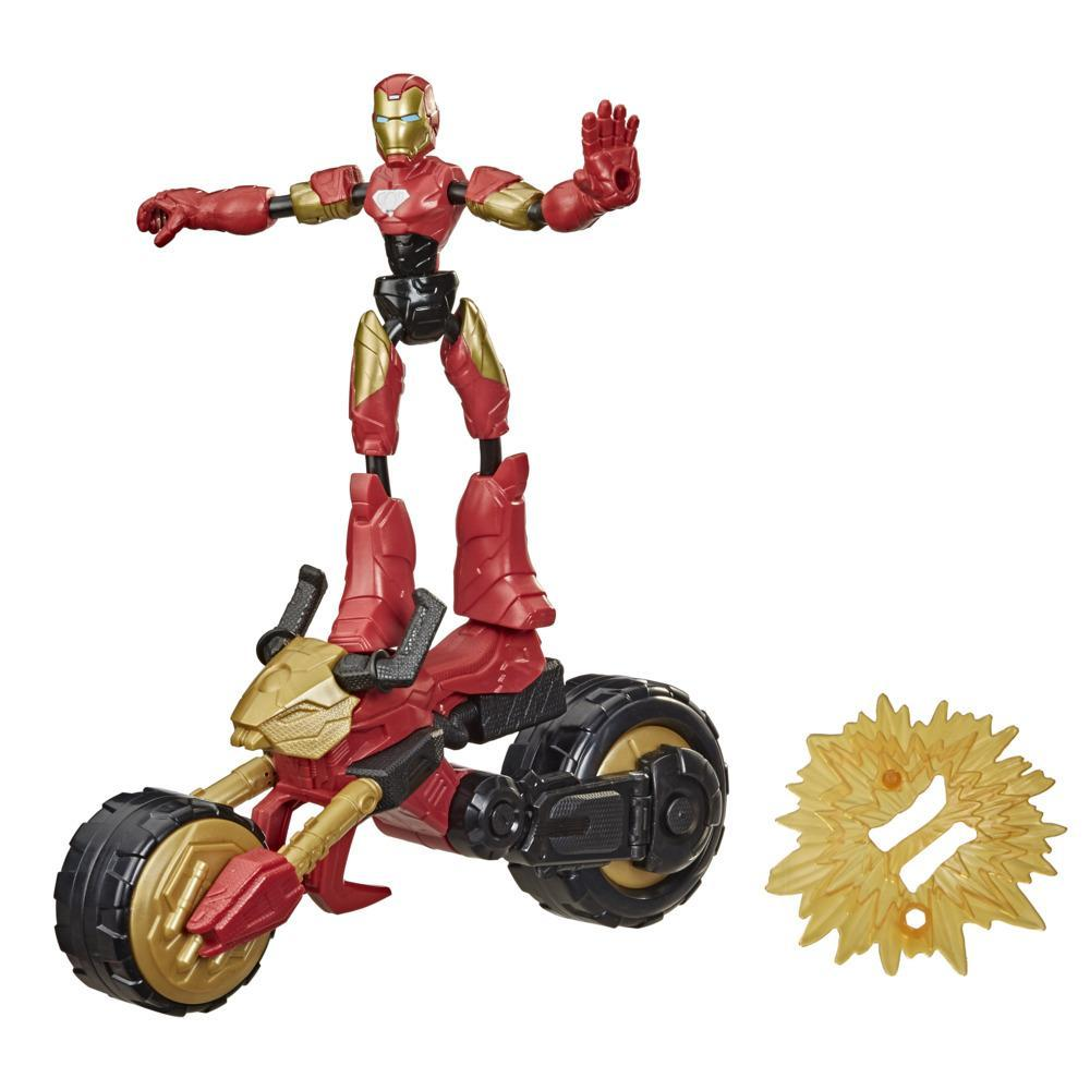 Marvel Bend and Flex, Flex Rider Iron Man Figura Brinquedo de 15 cm 2 em 1 Moto, para crianças a partir dos 6 anos