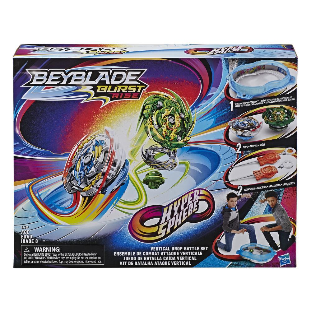 Kit de Batalha Ataque Vertical Beyblade Burst Hypersphere -- Kit completo com arena Beystadium, piões de batalha, lançadores