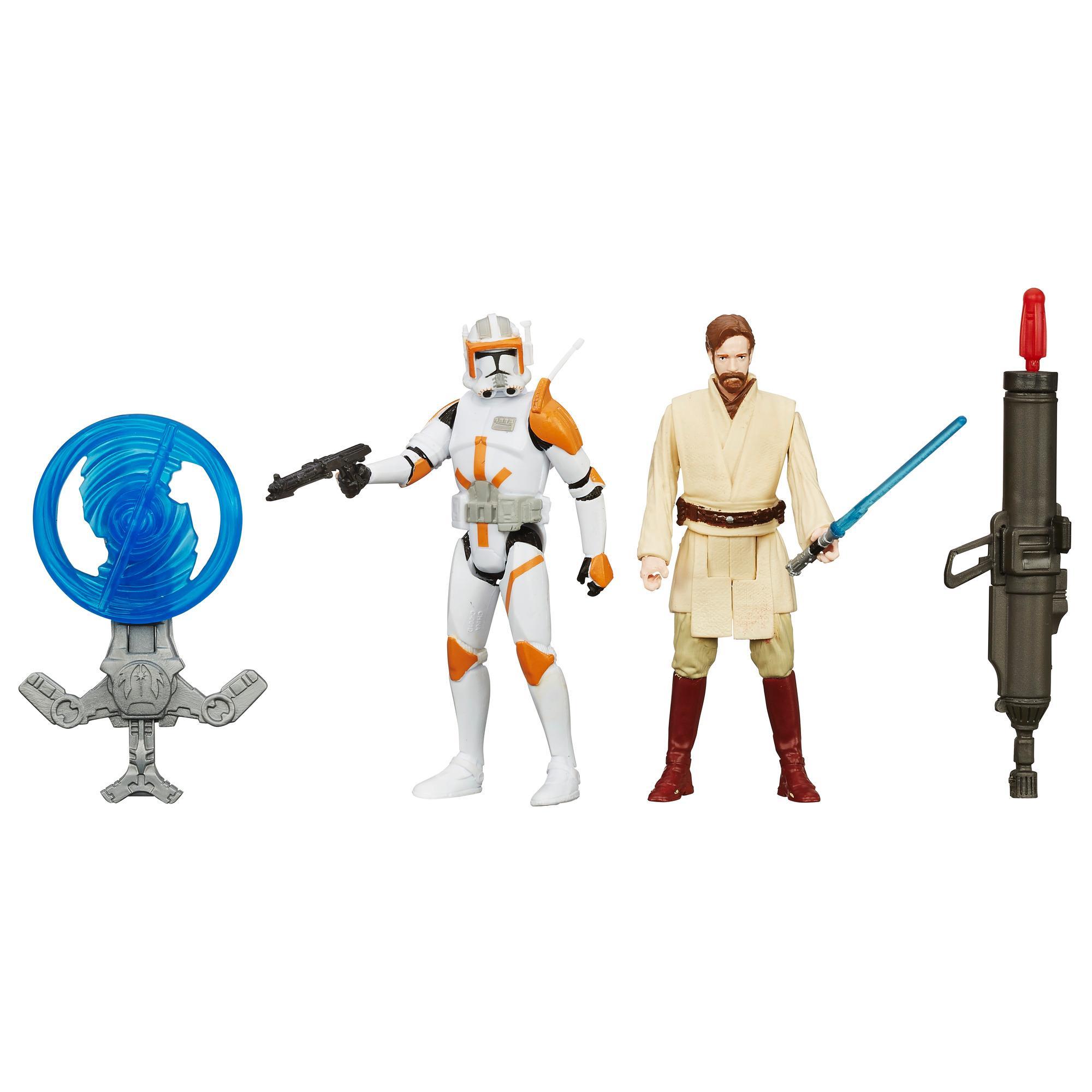 Star Wars A Vingança dos Sith - Kit Missão no Deserto com 2 Figuras de 9,5 cm: Obi-Wan e comandante Cody