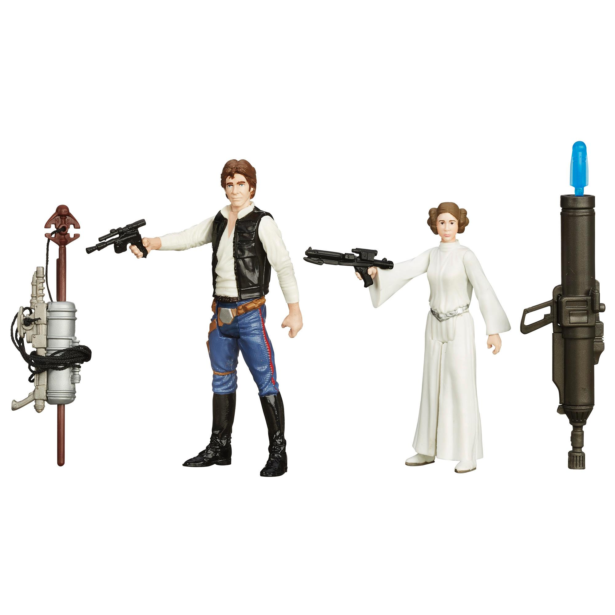Star Wars Uma Nova Esperança - Kit Missão Espacial com 2 Figuras de 9,5 cm Han Solo e Princesa Leia