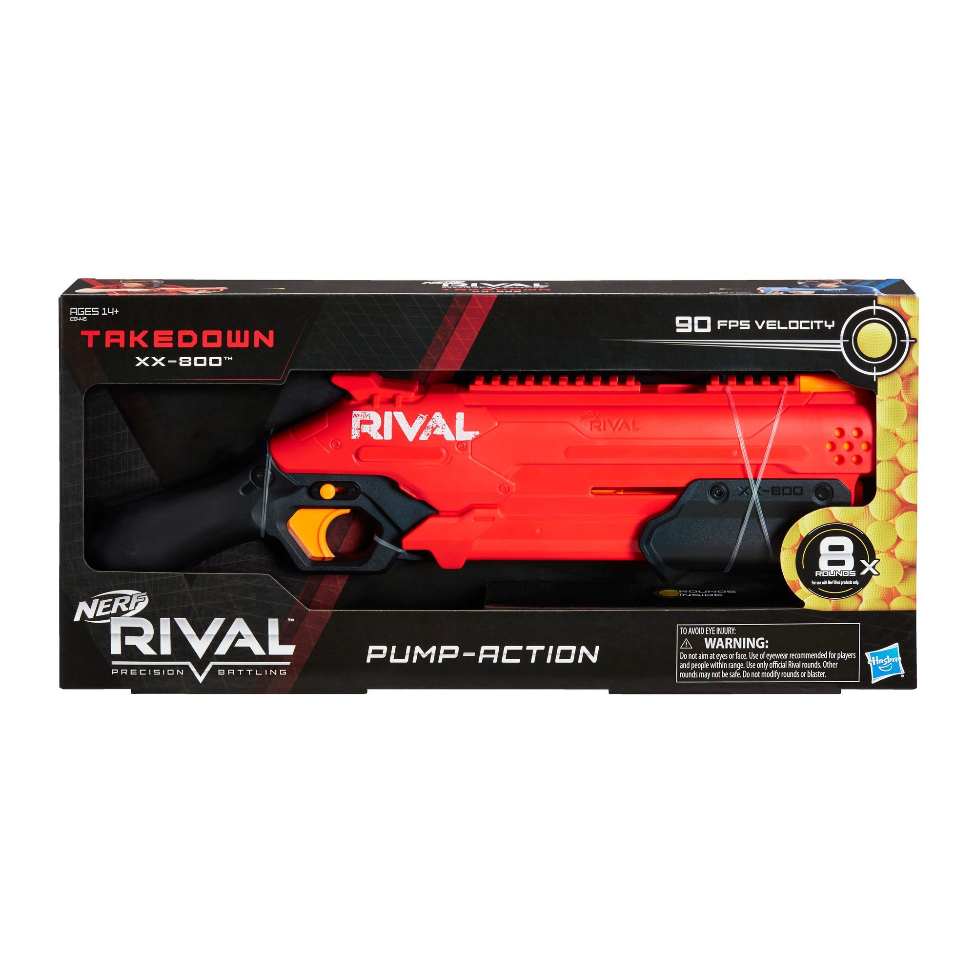 Lançador Nerf Rival Takedown XX-800 -- Bombeador, câmara de recarga, capacidade para 8 projéteis, 27 m/s, 8 projéteis Nerf Rival, time vermelho