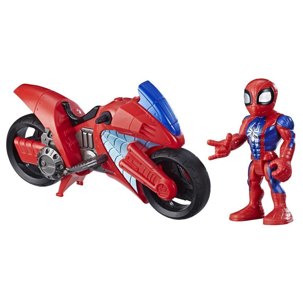 Playskool Heroes Marvel Super Hero Adventures Mega Mighties Homem-Aranha com Veículo, figura de 12,5 cm