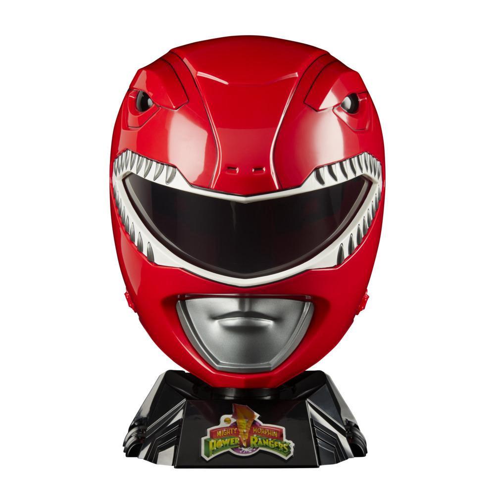Power Rangers Lightning Collection - Réplica Especial do Capacete do Mighty Morphin Ranger Vermelho para exibição, cosplay e brincadeiras