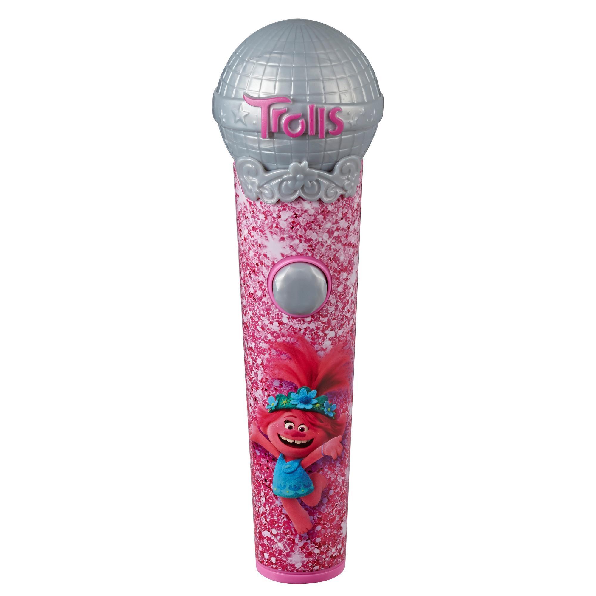 Trolls da DreamWorks Microfone da Poppy - Brinquedo musical com luz e som. Toca 5 músicas do filme Trolls World Tour