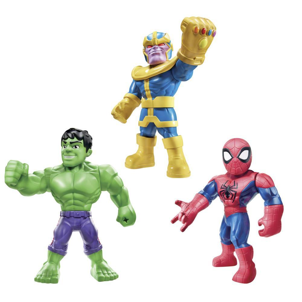 Playskool Heroes Marvel Super Hero Adventures Mega Mighties Kit Triplo de Figuras de 30 cm, Thanos, Spider-Man, Hulk, Acima de 3 anos