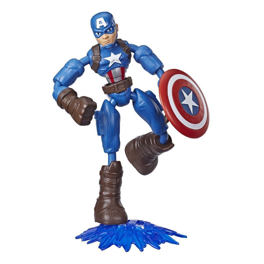 Marvel Vingadores Bend and Flex Figura Brinquedo, 15 cm figura Capitão América flexível, inclui acessório, para crianças acima de 6 anos