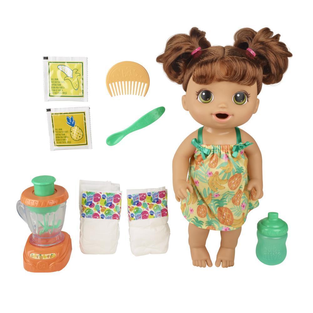 Baby Alive Misturinha Sabor Tropical com liquidificador e bebidas. Come e faz xixi. Cabelos pretos. Brinquedos para crianças acima de 3 anos