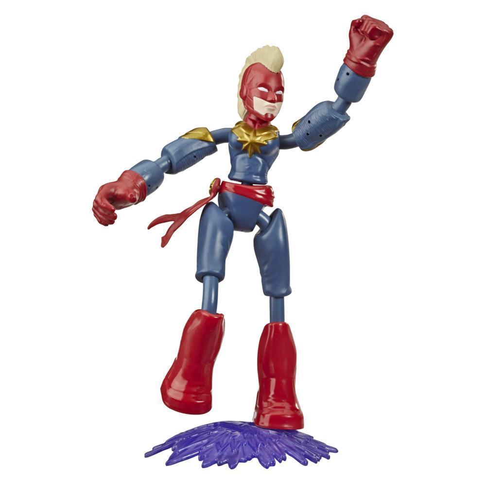 Marvel Vingadores Bend and Flex Figura Brinquedo, 15 cm figura Capitã Marvel flexível, inclui acessório, para crianças acima de 6 anos