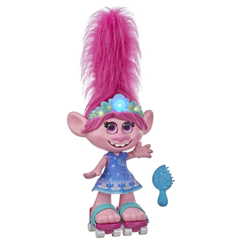 Trolls Poppy Dancing Hair — Boneca interativa que fala e canta com cabelo que mexe. Idade: a partir dos 4 anos