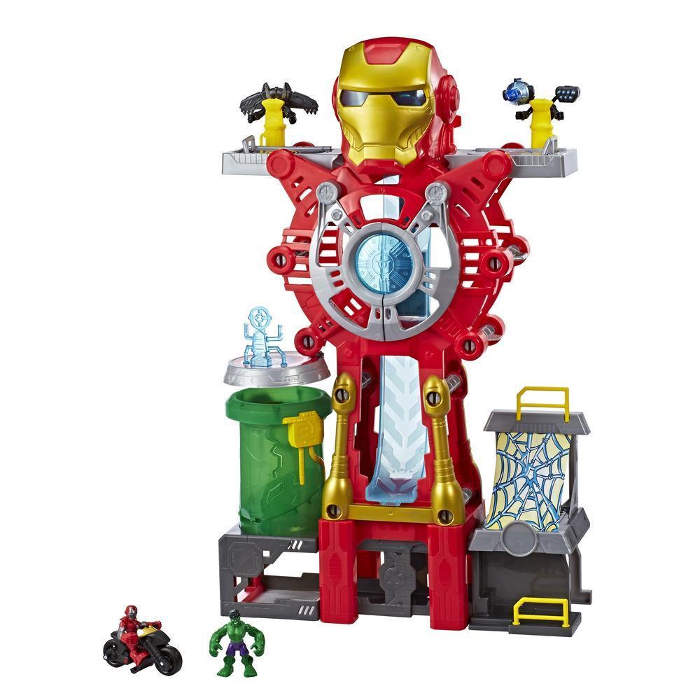Playskool Heroes Marvel Super Hero Adventures Playset Quartel-General de Iron Man — Figuras de Iron Man Ferro e Hulk e veículo. Brinquedo para crianças a partir dos 3 anos