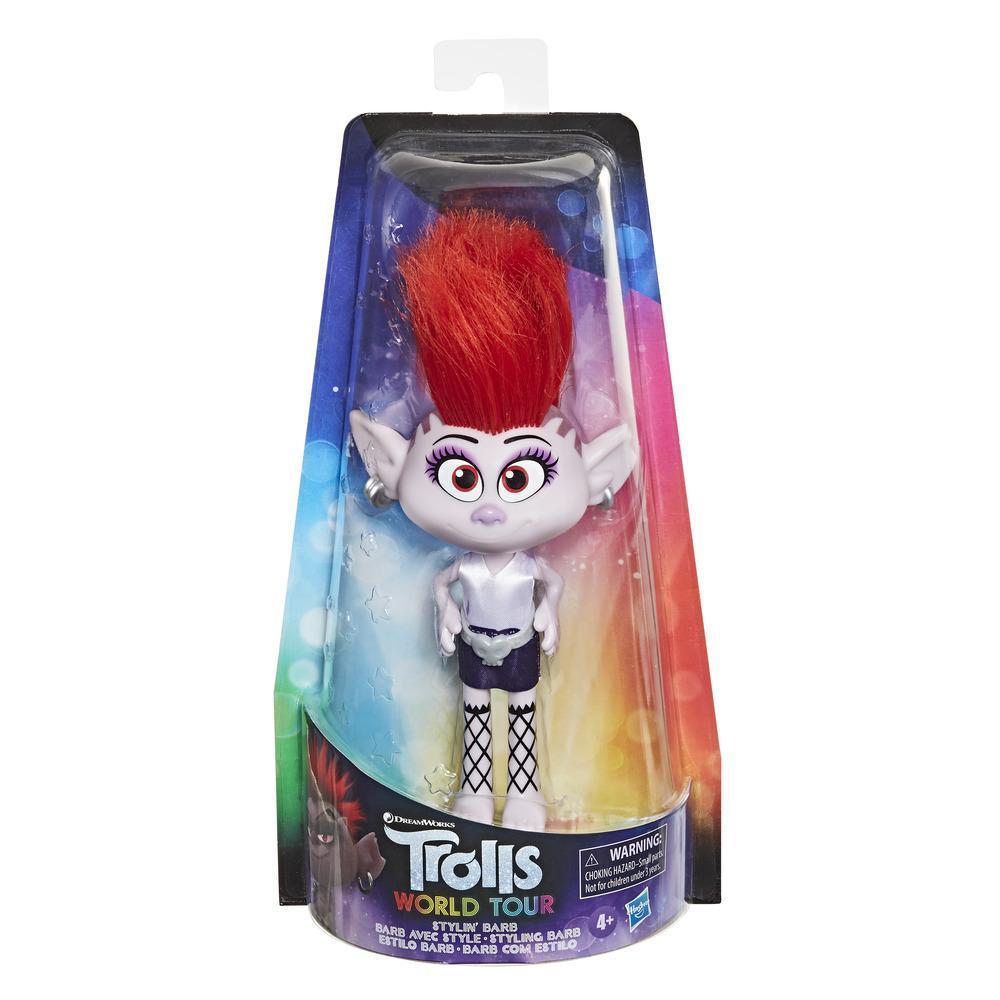 Trolls Barb com Estilo — Boneca com vestido de tirar e pôr e acessório para o cabelo, inspirada no filme Trolls: Tour Mundial