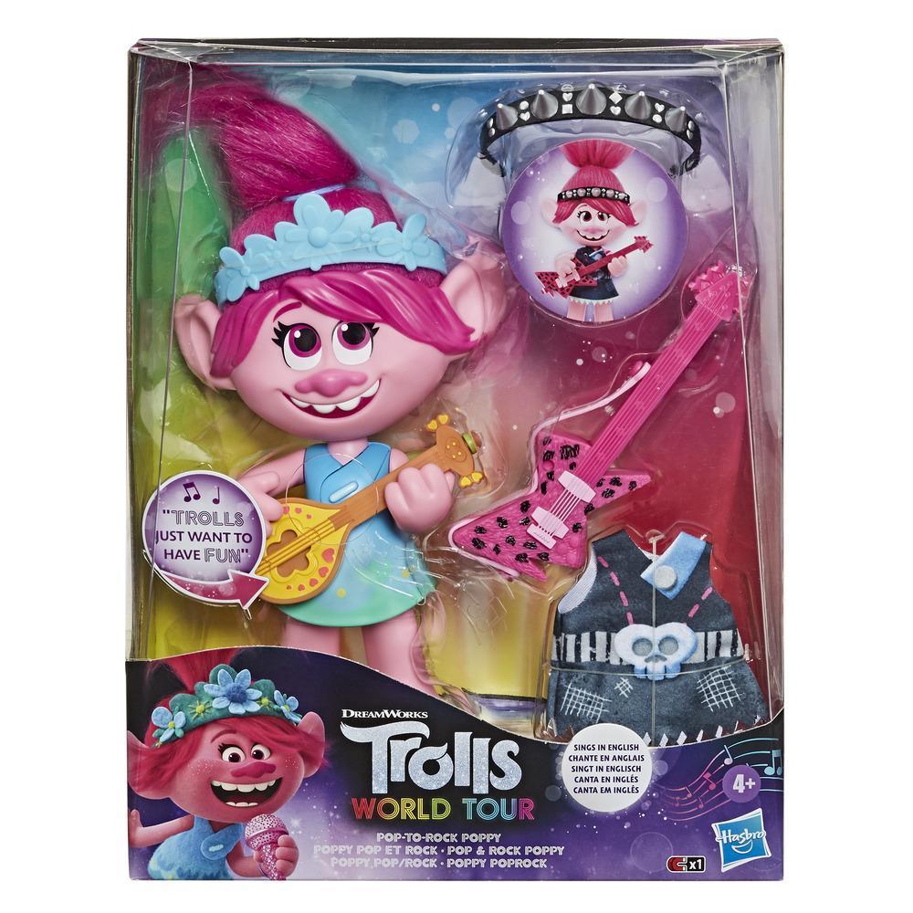 DreamWorks Trolls — World Tour Poppy Pop-to-Rock. Boneca com 2 visuais diferentes e efeitos sonoros