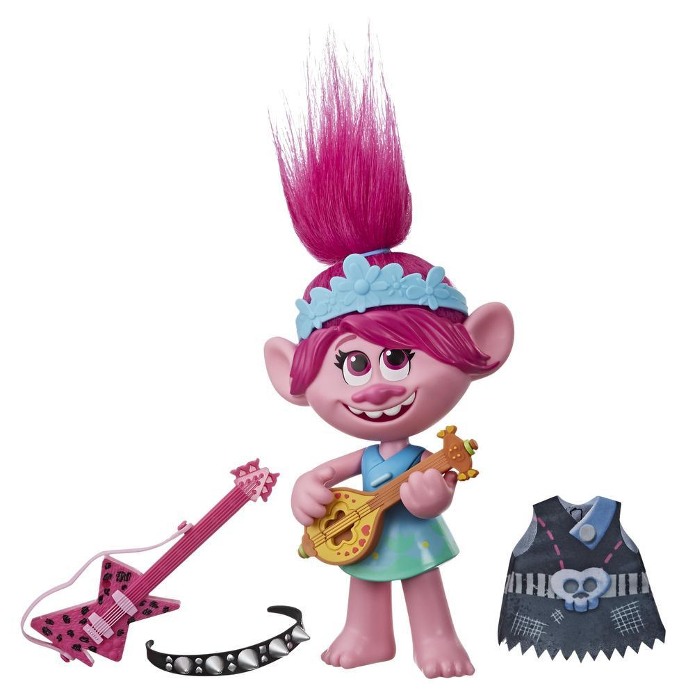 DreamWorks Trolls — World Tour Poppy Pop-to-Rock. Boneca com 2 visuais diferentes e efeitos sonoros