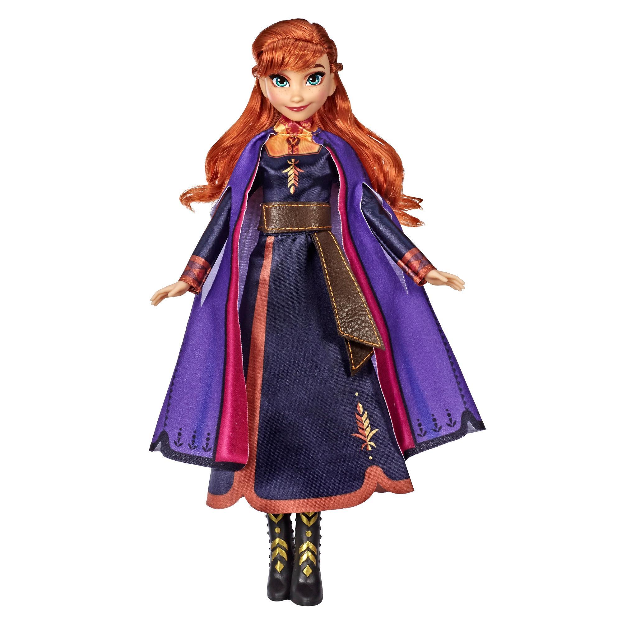 Disney Frozen Singing Anna — Boneca musical com vestido roxo inspirada no filme Frozen 2 da Disney. Idade: a partir dos 3 anos