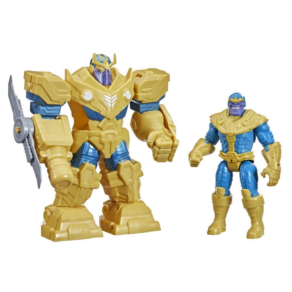 AvengersFigura Mech Strike de Thanos de 22 cm - Armadura Infinity e acessório de arma branca
