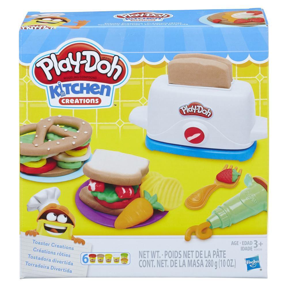 Play-Doh Kitchen Creations — A Torradeira. Kit para fazer torradas com 6 cores de plasticina Play-Doh não tóxica