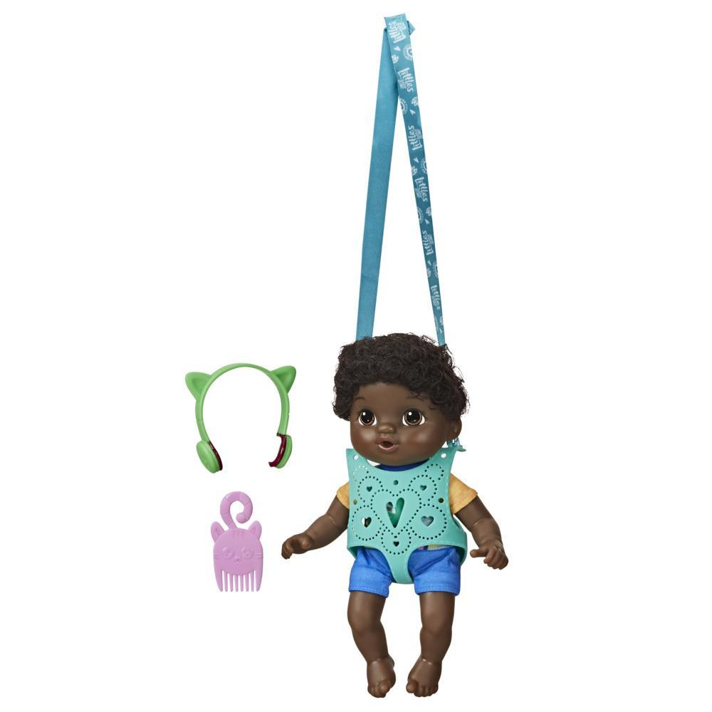 Littles by Baby Alive, Carry 'n Go Squad, Little Theo Black Curly Hair Boy Doll, Carrier, Toy for Kids Ages 3 and Up
