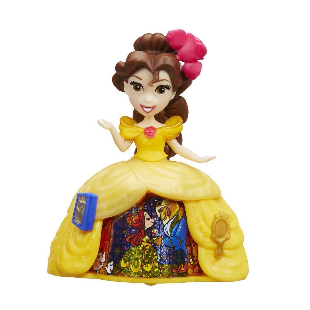 Mini păpușă Belle, cu rochie magică, Disney Princess Little Kingdom