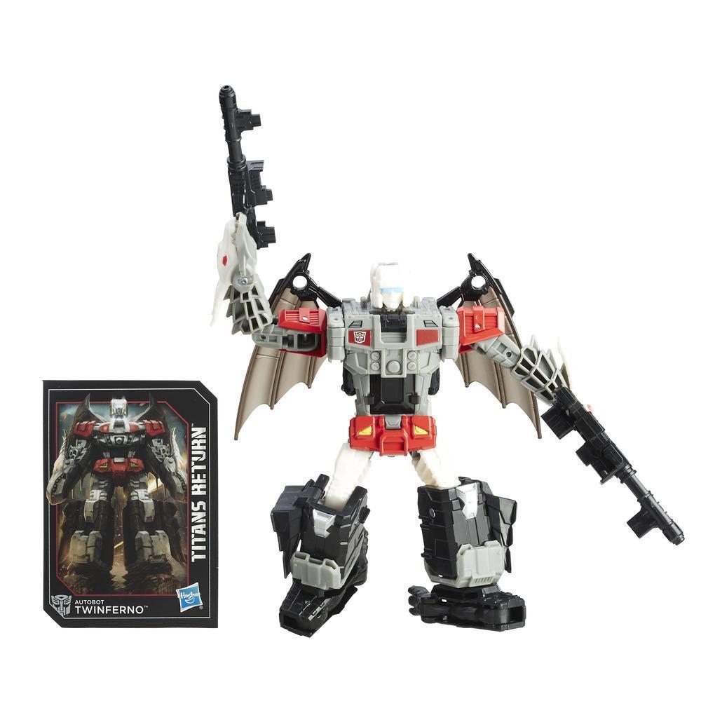 Autobotul Twinferno și Daburu din gama Întoarcerea Titanilor, seria Transformers Generations