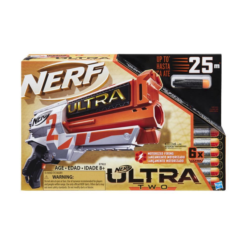 Blaster motorizat Nerf Ultra Two – Reincarcare rapida prin partea din spate, 6 sageti Nerf Ultra – Compatibil doar cu sageti Nerf Ultra
