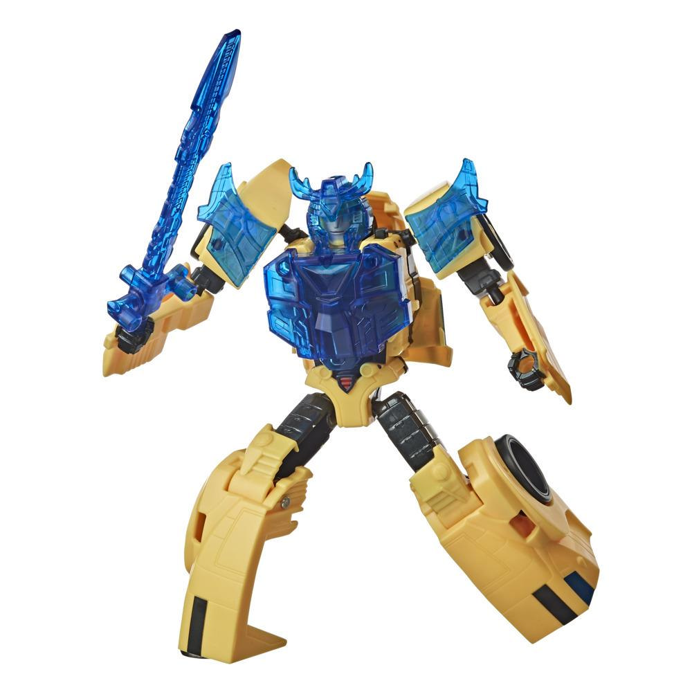 Figurina Bumblebee Transformers Bumblebee Cyberverse Adventures Battle Call Trooper Class, Lumini putere Energon activate vocal