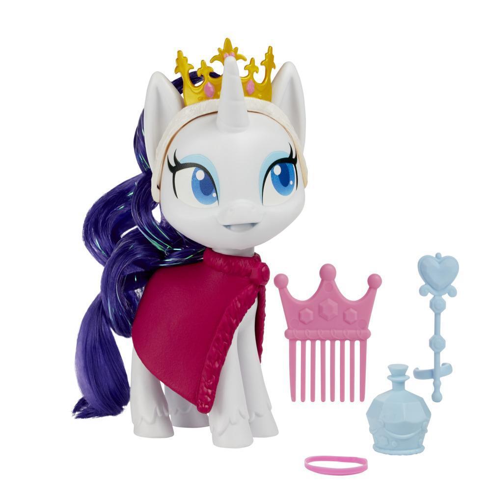 Figurina My Little Pony Rarity Potion care poate fi costumata – Jucaria ponei alb de 12,5 cm cu accesorii elegante pentru costumare, par care poate fi periat