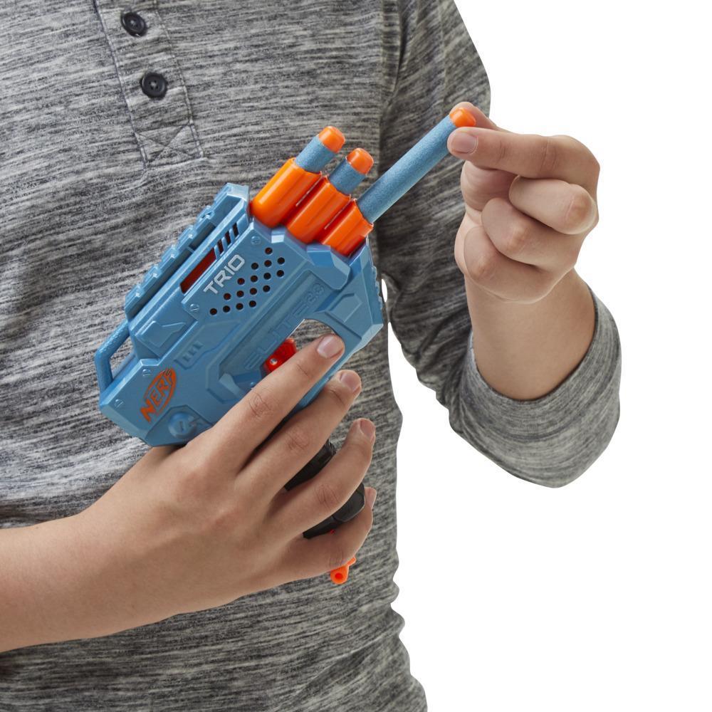 Blaster Nerf Elite 2.0 Trio SD-3, 6 sageti Nerf oficiale, lansare cu 3 tevi, sina tactica pentru posibilitati de personalizare