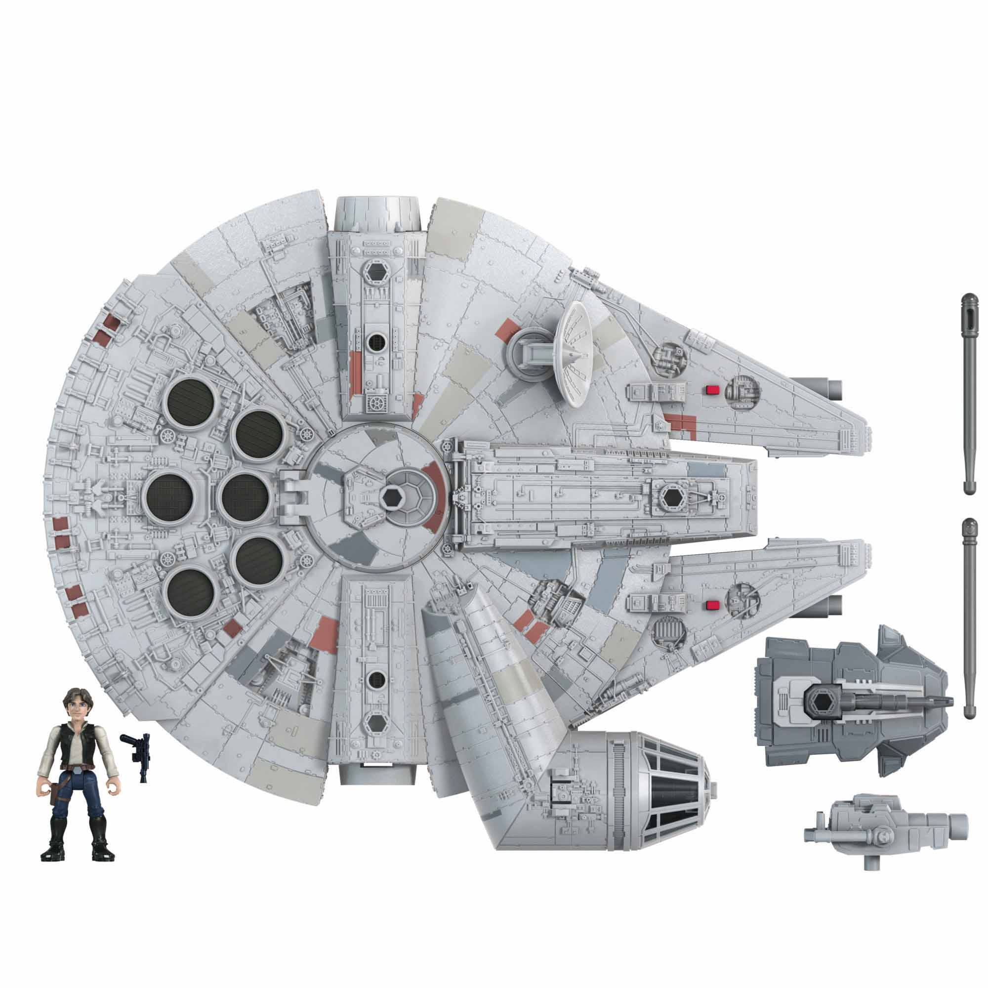 Star Wars Mission Fleet Han Solo Millennium Falcon, 6 cm höga figurer och fordon, leksaker för barn från 4 år