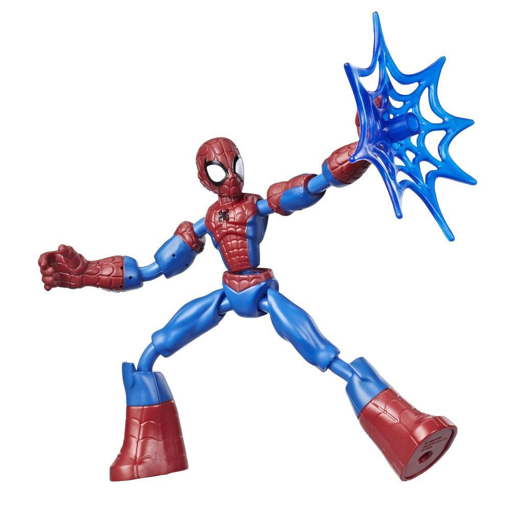 Marvel Spider-Man Bend and Flex Spider-Man, flexibel actionfigur på 15 cm med spindelnät, från 6 år och uppåt