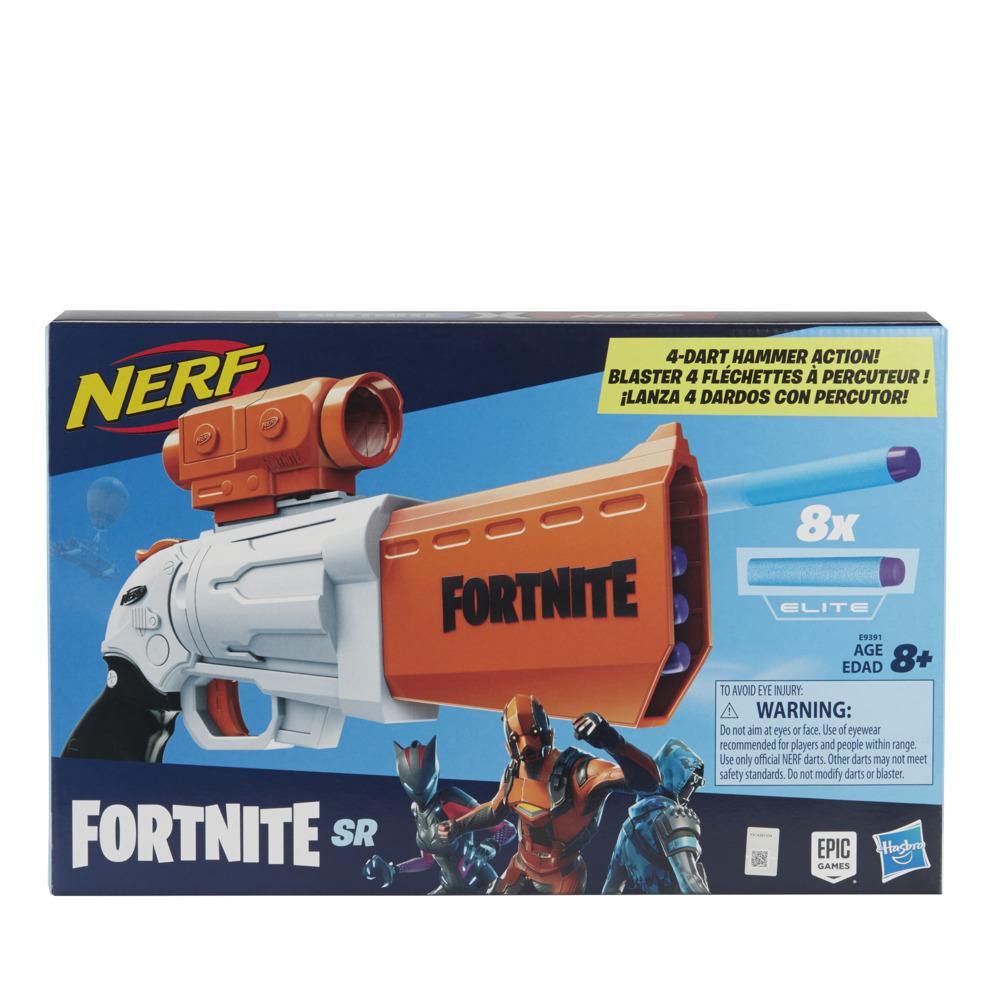 Nerf Fortnite SR Blaster – Hammarmekanism med 4 pilar – Med avtagbart sikte och 8 officiella Nerf Elite-pilar